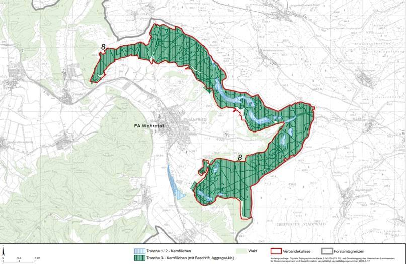 Bild 1 veranschaulicht die Dimension der geplanten Waldstilllegung rund um Wanfried! (Quelle: Hessen Forst)