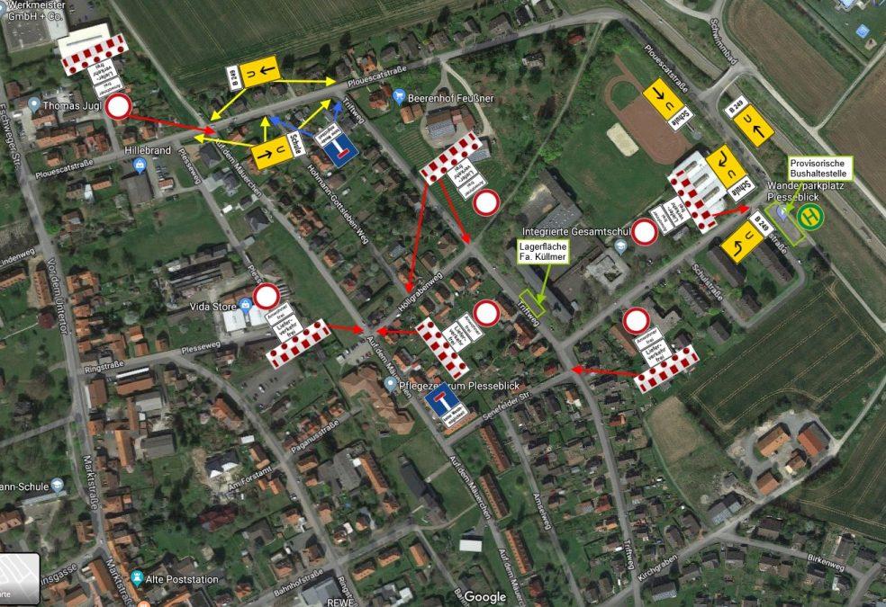 Beschilderungsplan und Übersicht der betroffenen Straßen