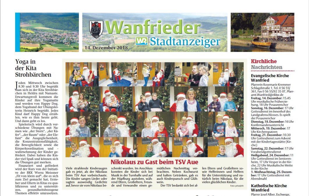 Der Wanfrieder Stadtanzeiger in der Werra-Rundschau vom 14.12.2018.